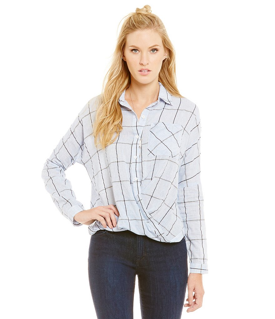 Skies Are Blue Grid Wrap Top