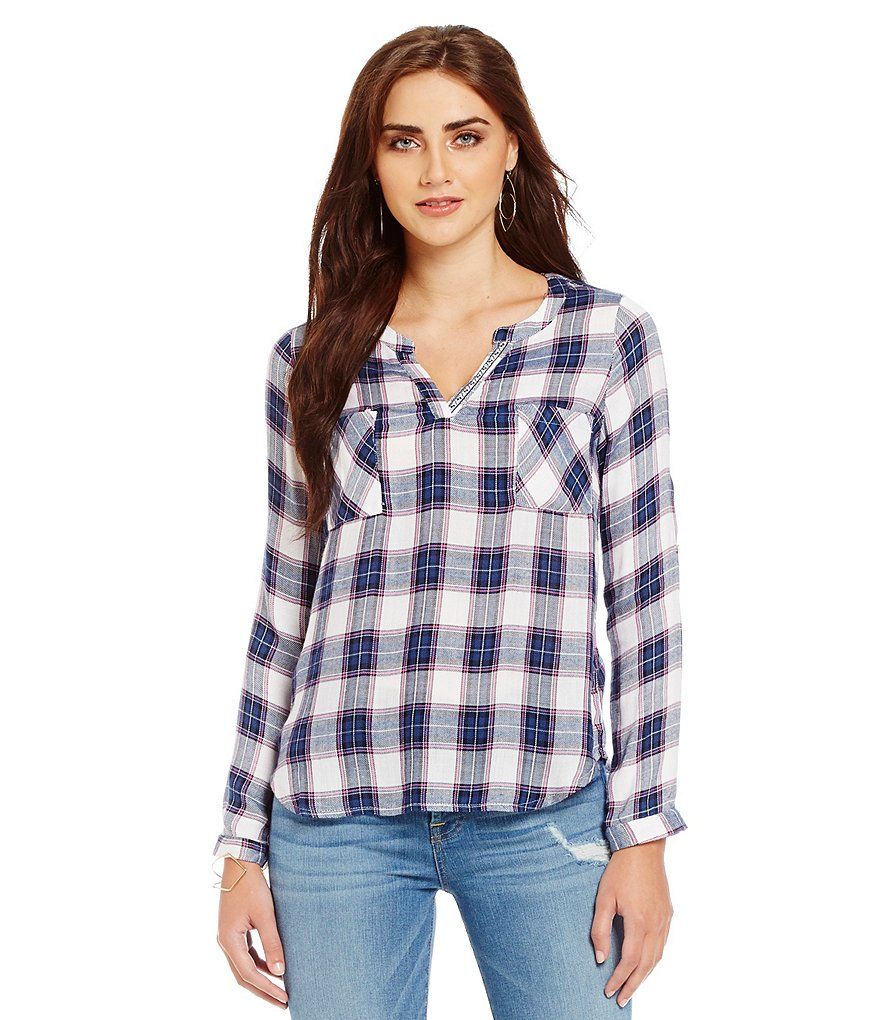 Skies Are Blue Plaid V-Neck Top