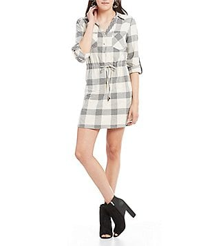 Skies Are Blue Plaid Roll-Tab Sleeve Drawstring Shirt Dress