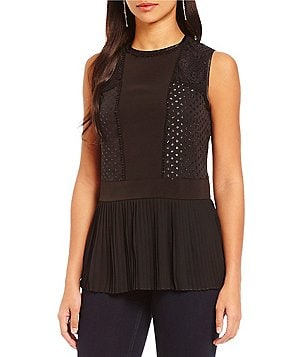 Jones New York Pleated Georgette & Lace Top