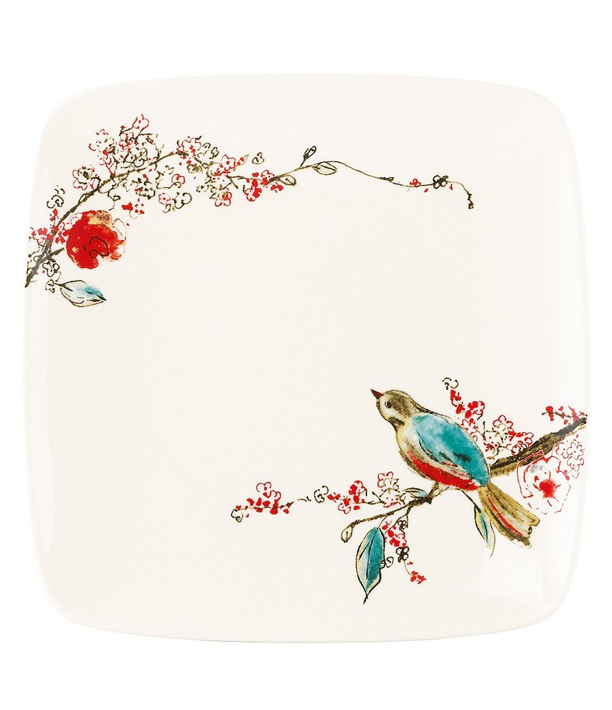 Lenox Chirp Floral & Bird Bone China Square Accent Plate