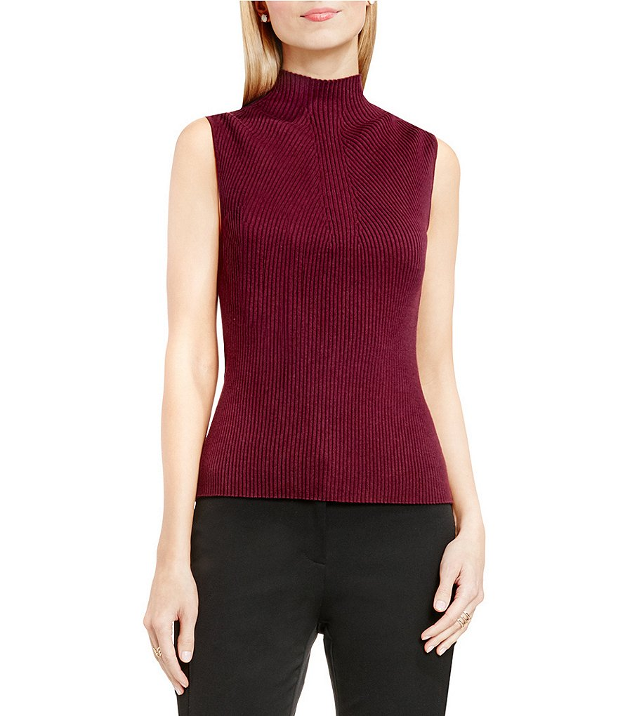 Vince Camuto Mock Neck Ribbed Sweater
