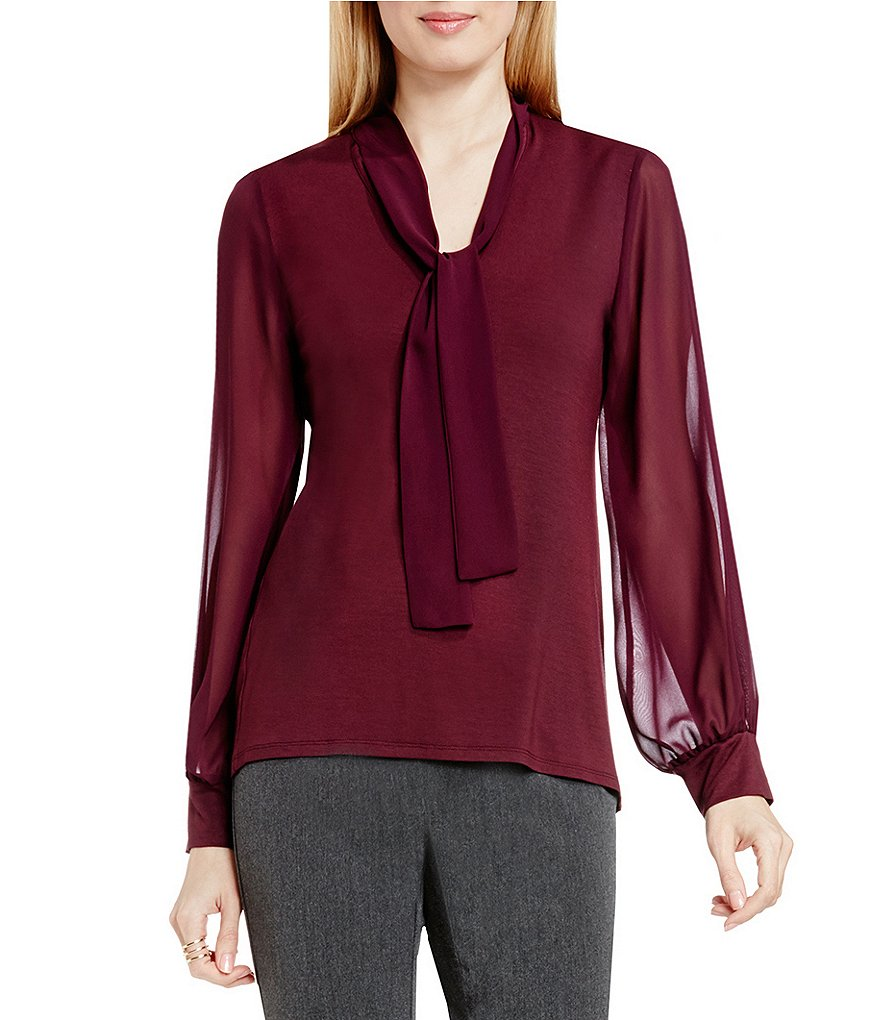 Vince Camuto Tie Neck Top with Chiffon Sleeves