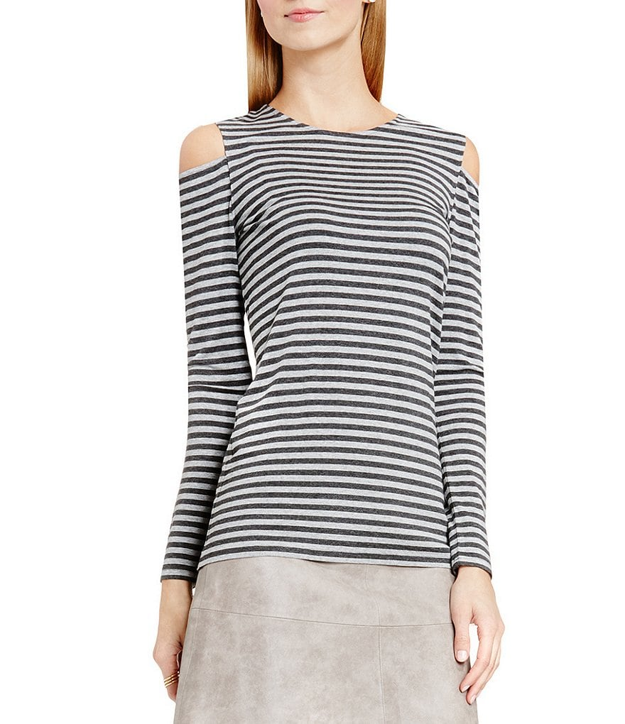 Vince Camuto Parlour Stripe Cold-Shoulder Top
