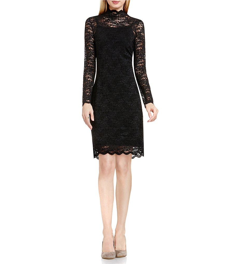 Vince Camuto Mock Neck Scallop Lace Dress