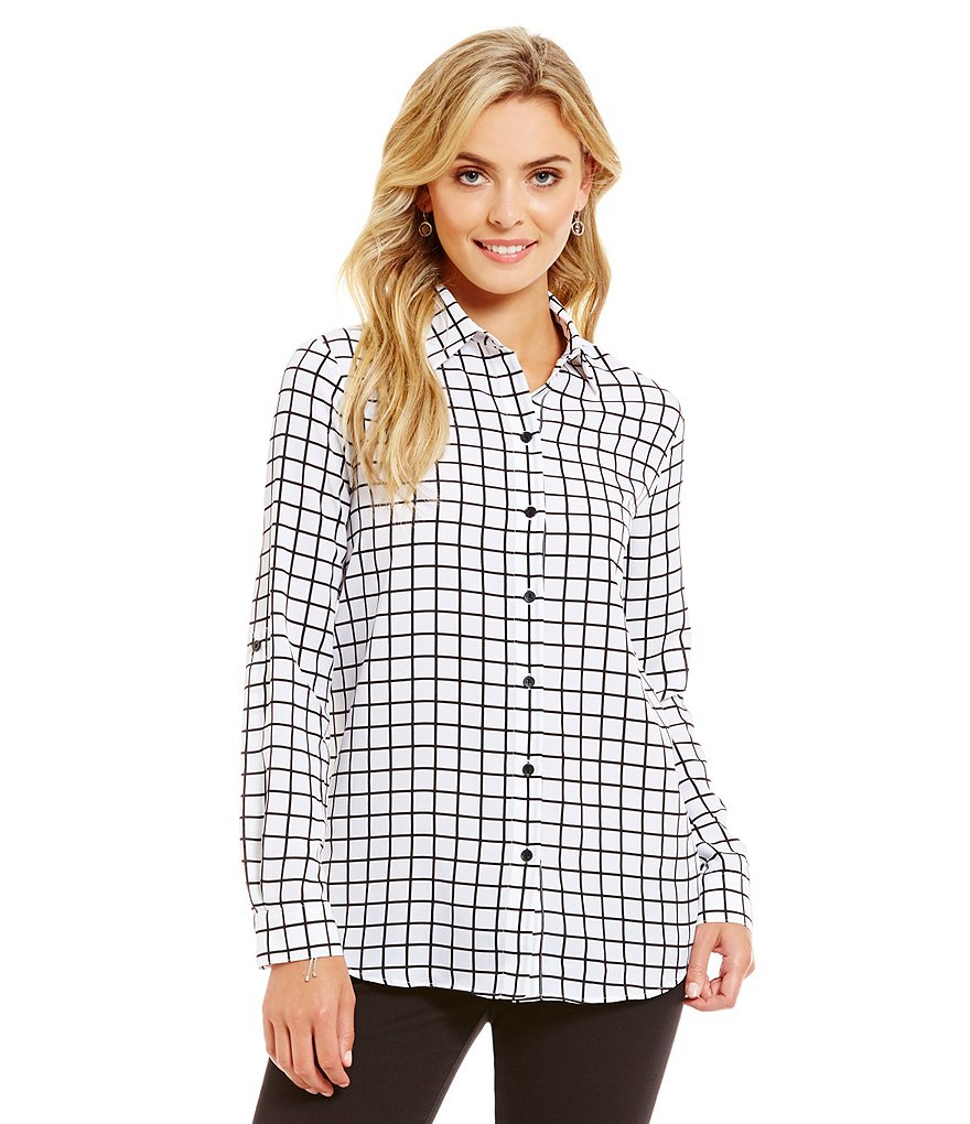 MICHAEL Michael Kors Windowpane Printed Pebble Crepe Roll-Sleeve Top