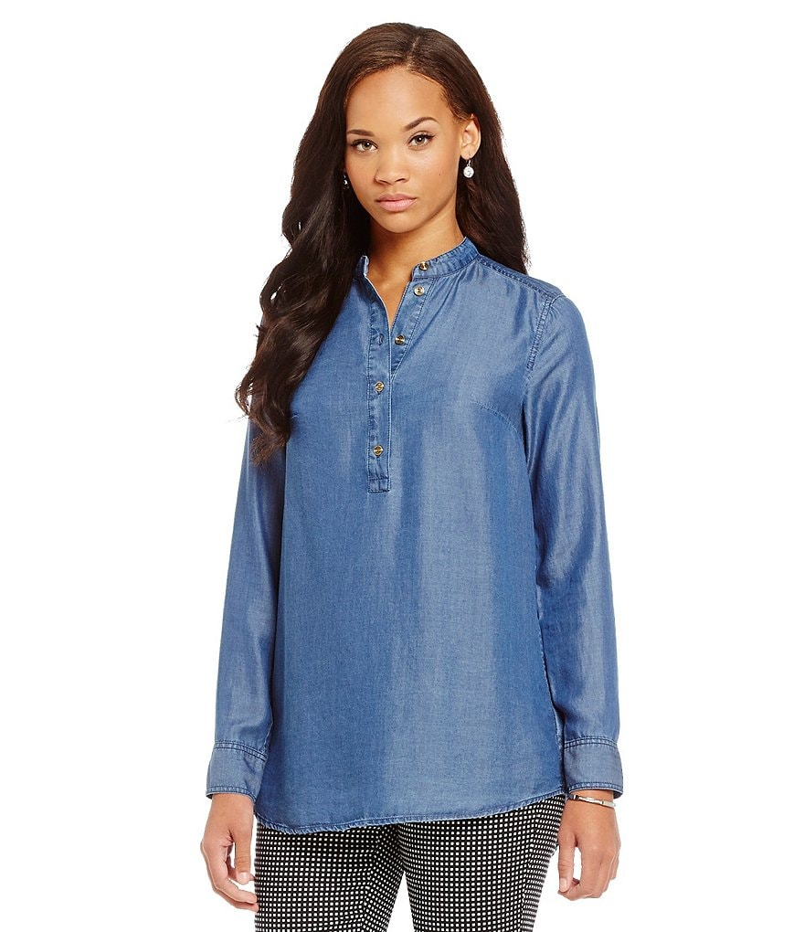 MICHAEL Michael Kors Band Collar Long Sleeve Tencel Denim Tunic