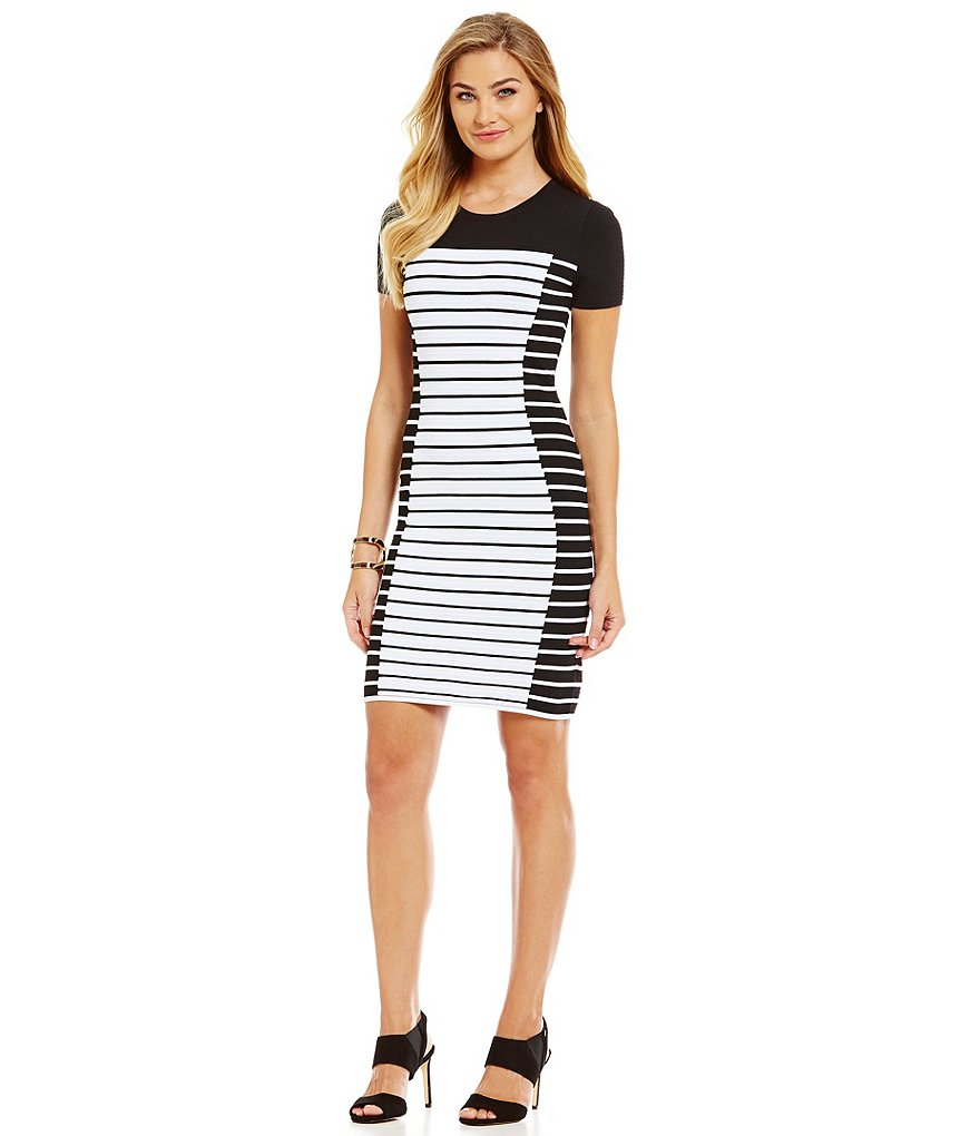 MICHAEL Michael Kors Striped Knit Bodycon Sheath Dress