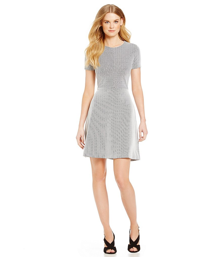 MICHAEL Michael Kors Digital Texture Jacquard Knit Fit-And-Flare Dress