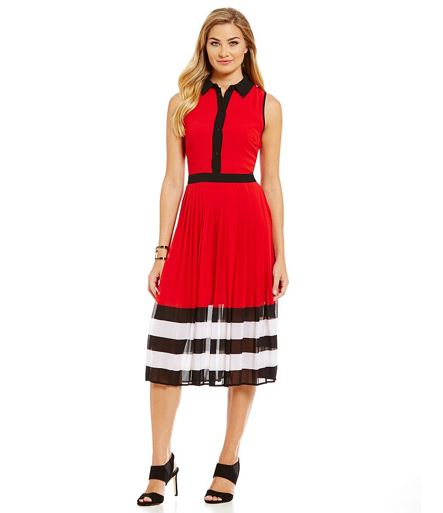 MICHAEL Michael Kors Engineered Stripe Pleated Georgette A-Line Dress