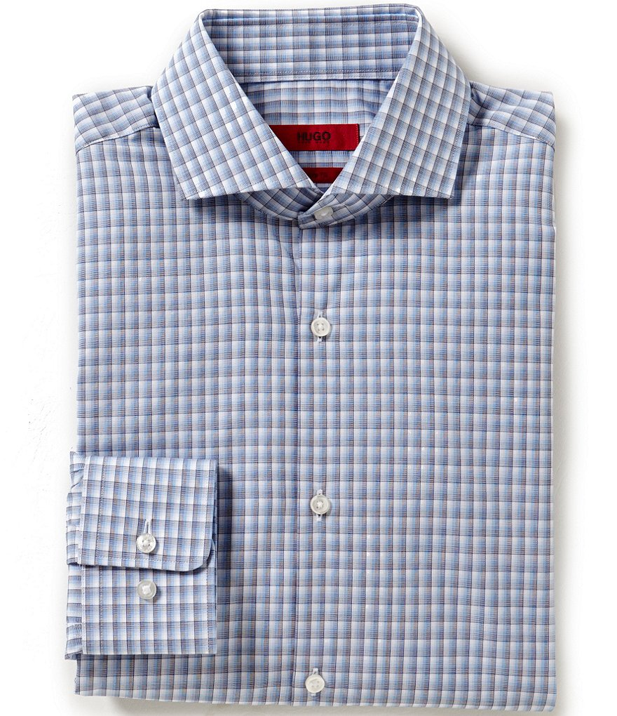 HUGO HUGO BOSS Sharp Slim-Fit Spread-Collar Checked Dress Shirt