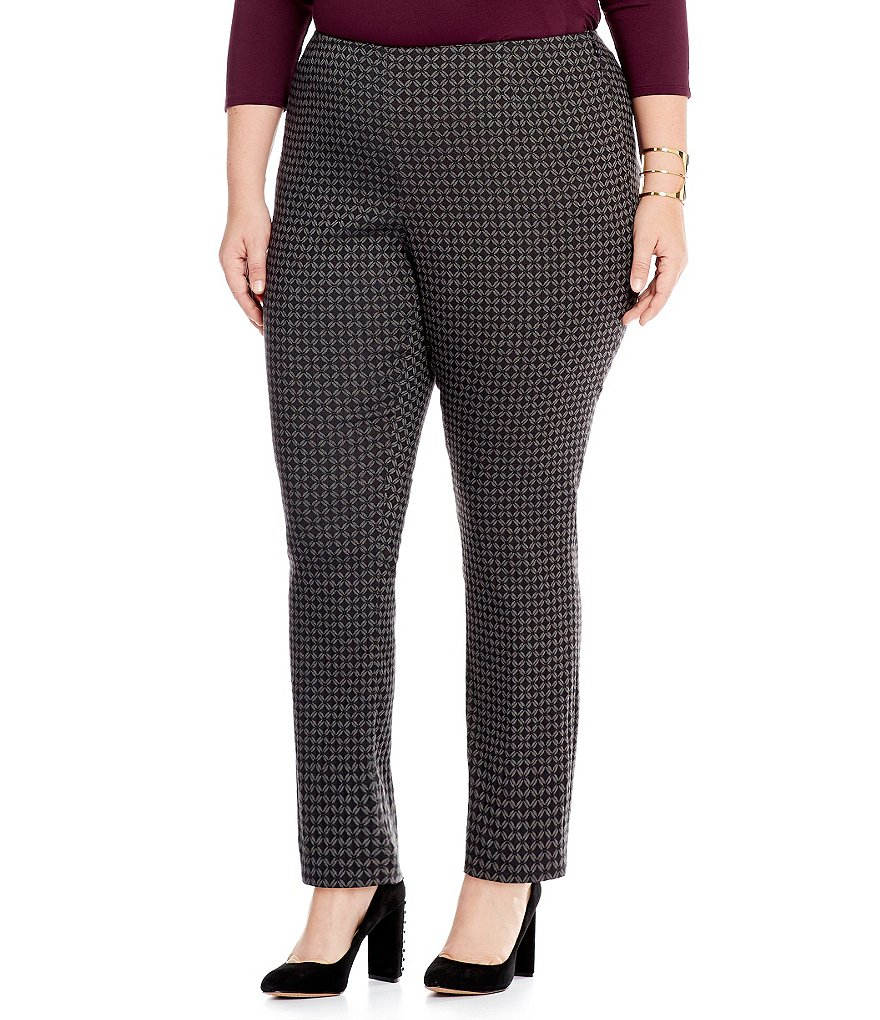 Vince Camuto Plus Side Zip Victorian Jacquard Skinny Pant