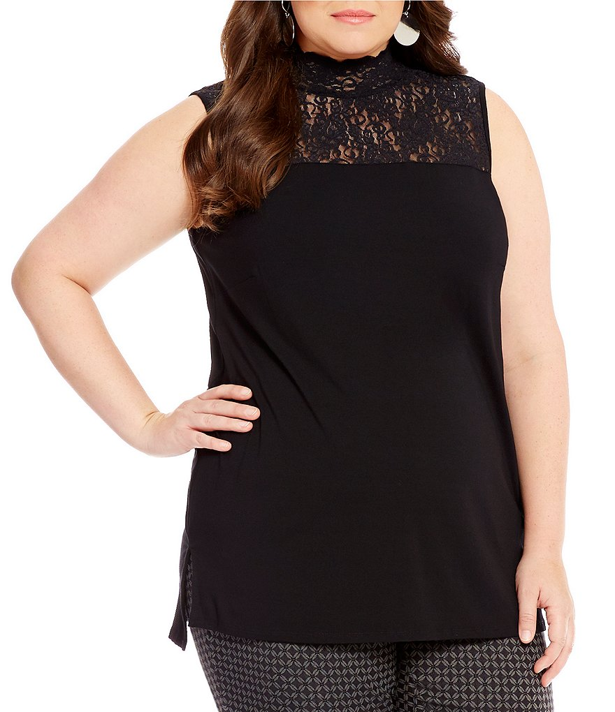 Vince Camuto Plus Lace Mock Neck