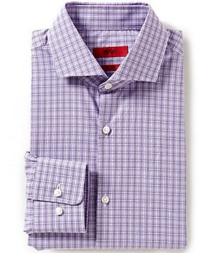 HUGO HUGO BOSS Sharp Slim-Fit Spread-Collar Plaid Dress Shirt