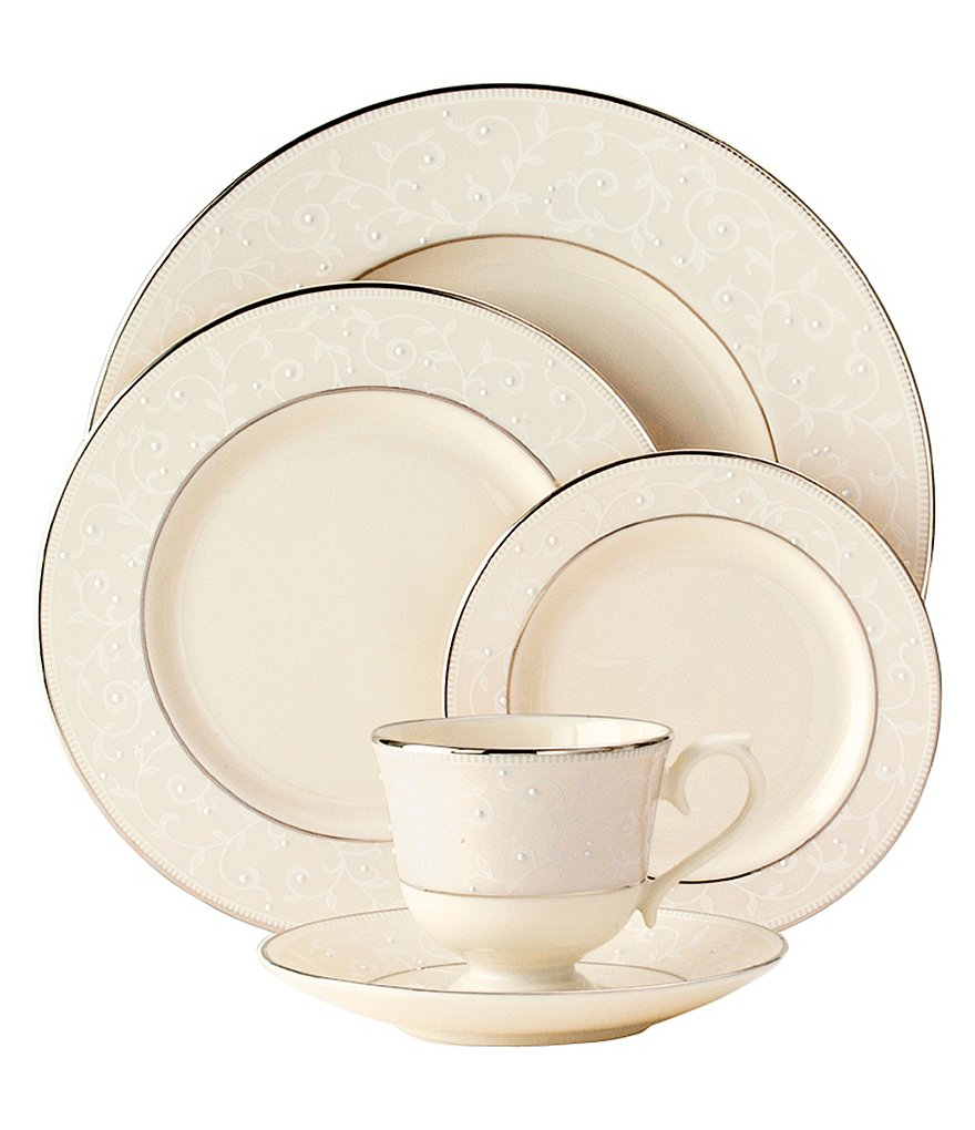 Lenox Pearl Innocence Vine & Pearl Platinum Bone China 5-Piece Place Setting