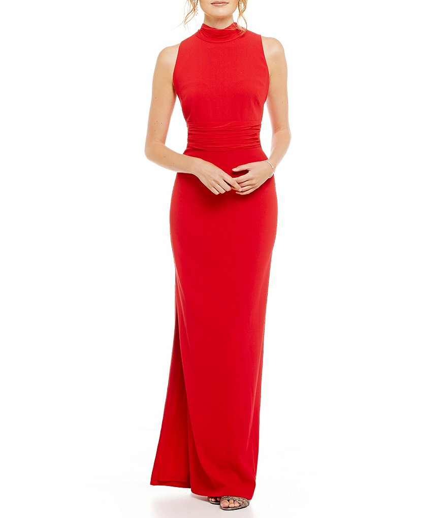 Aidan Mattox Chiffon High Neck Sleeveless Gown