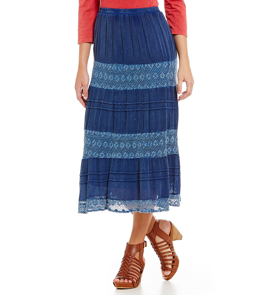 Reba Vintage Blues Lace Tiered Midi Skirt