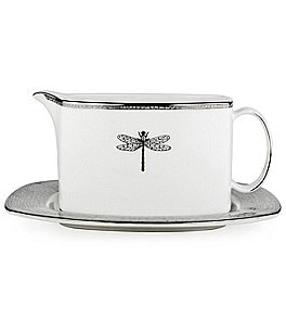 kate spade new york June Lane Dragonfly Platinum Bone China Gravy Boat with Stand Image