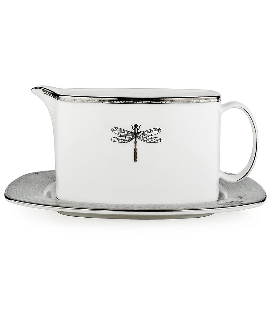 kate spade new york June Lane Dragonfly Platinum Bone China Gravy Boat with Stand