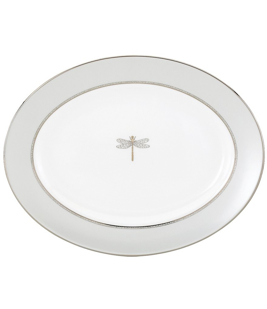 kate spade new york June Lane Dragonfly Platinum Bone China Oval Platter