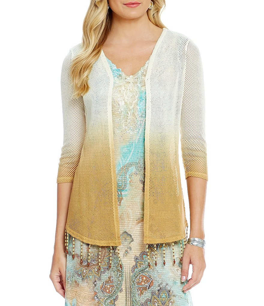 Reba Vintage Blues Crochet Beaded-Fringe Cardigan