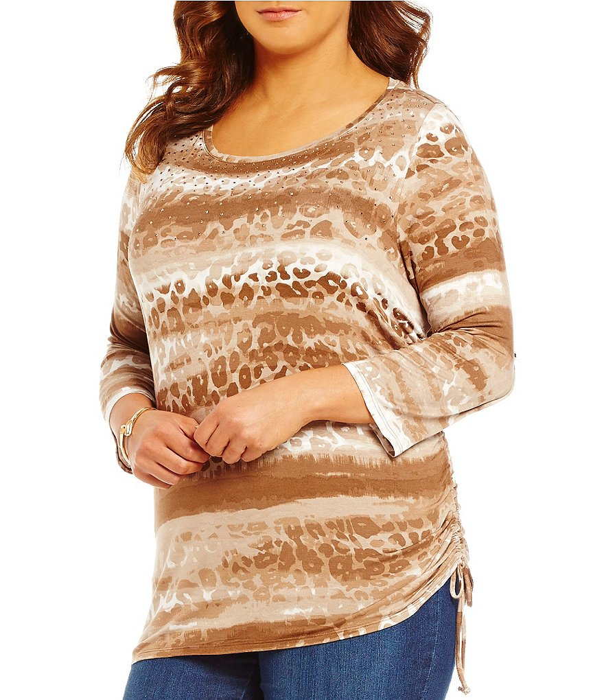 Ruby Rd. Plus Boat Neck Embellished Printed Side Ruching Knit Top