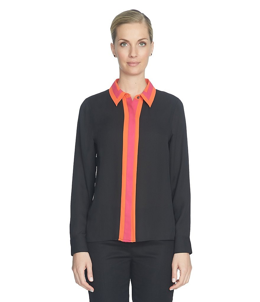 CeCe Colorblock Collared Shirt