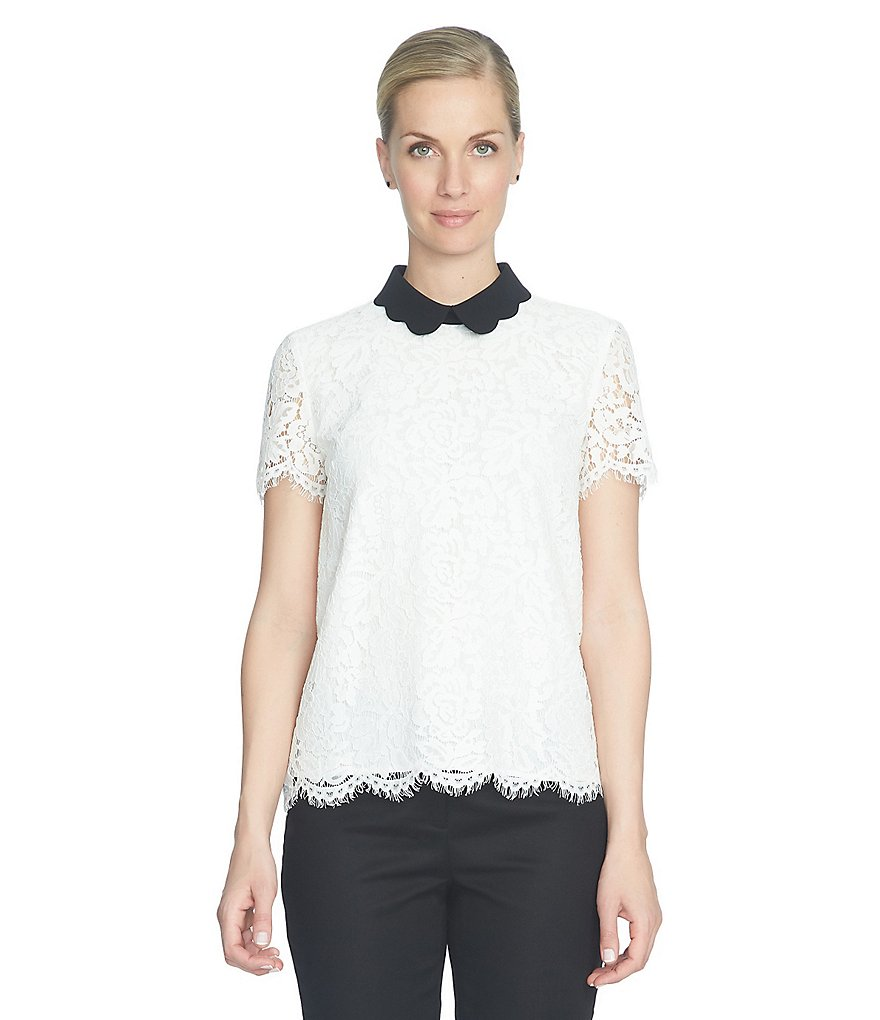 CeCe Floral Lace Scalloped Collar Blouse
