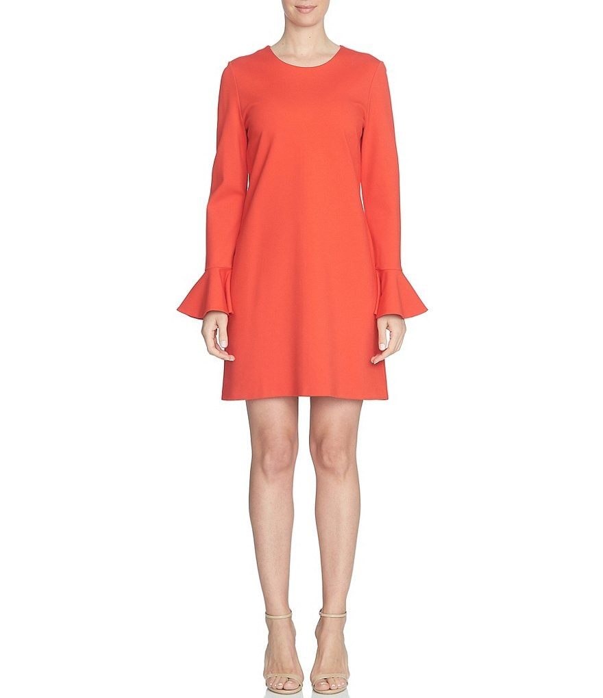 CeCe Crew Neck Bell Sleeve Ponte Dress