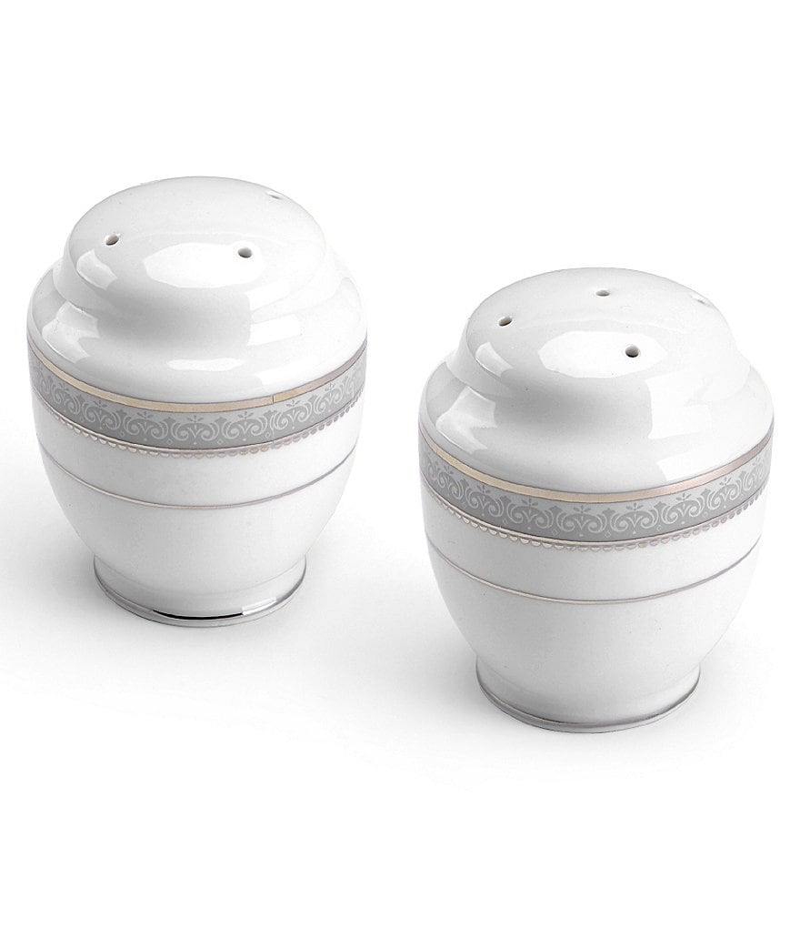 Mikasa Platinum Crown Filigree Porcelain Salt & Pepper Shaker Set