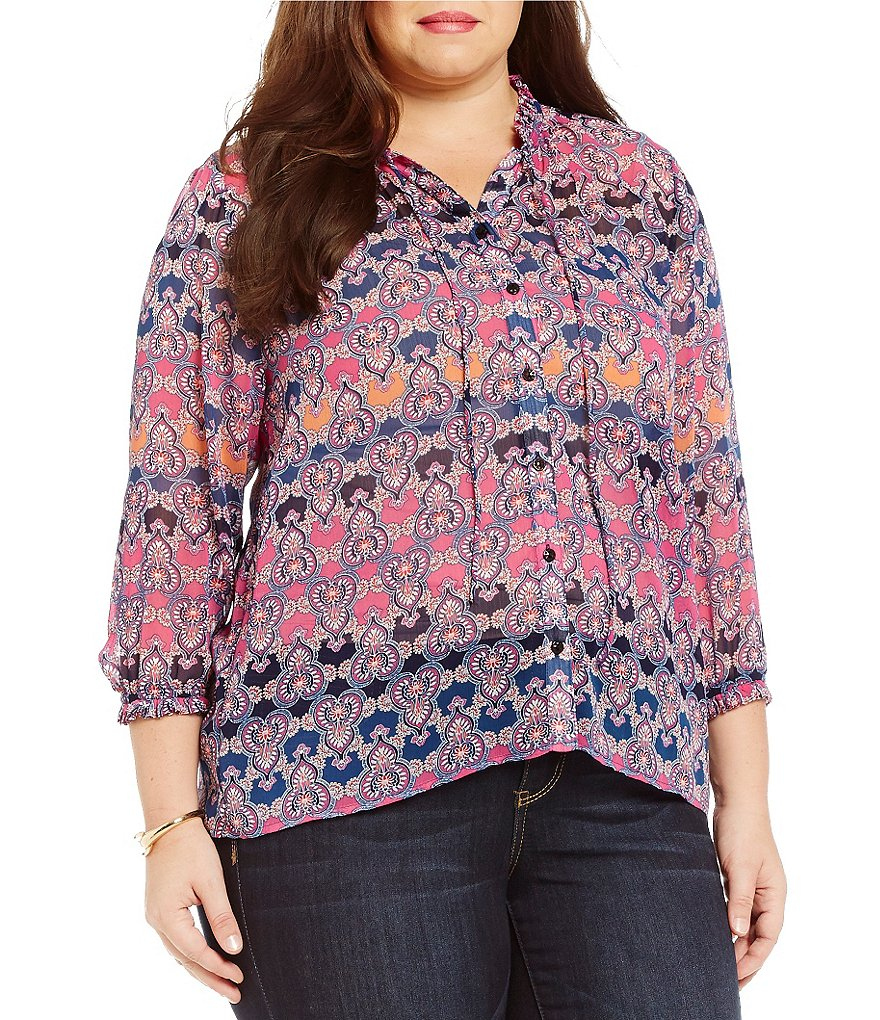 Democracy Plus Long Sleeve Button Front Printed Woven Top