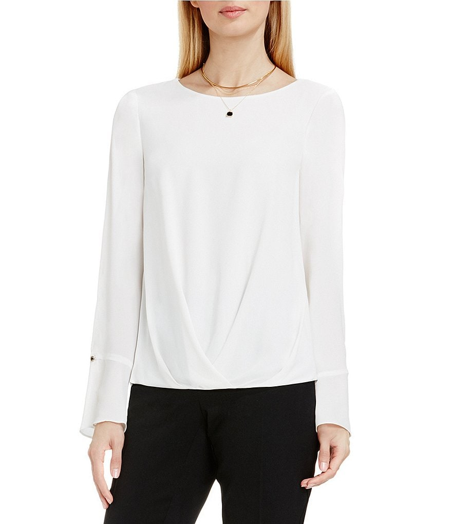 Vince Camuto Flutter-Cuff Fold Over Long Sleeve Blouse