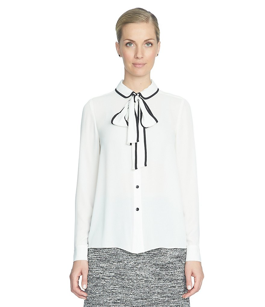 CeCe Tie-Neck Collared Piping Detail Shirt