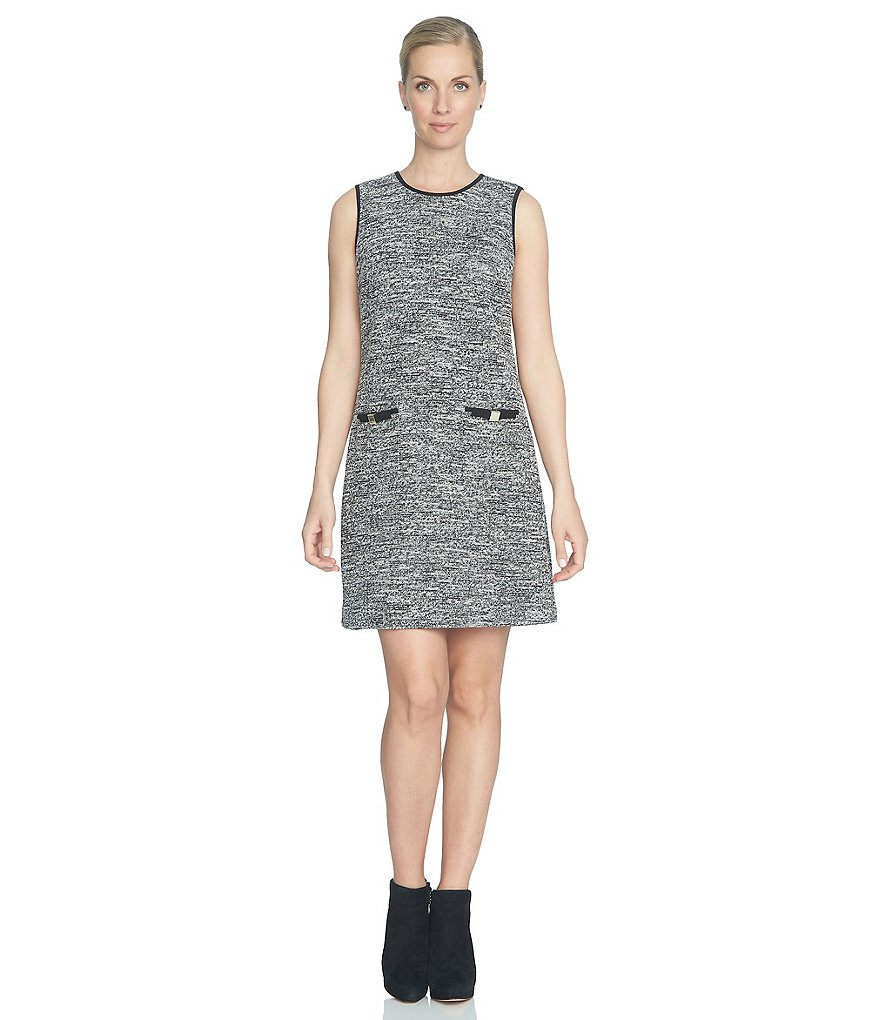 CeCe Stretch Tweed Shift Dress