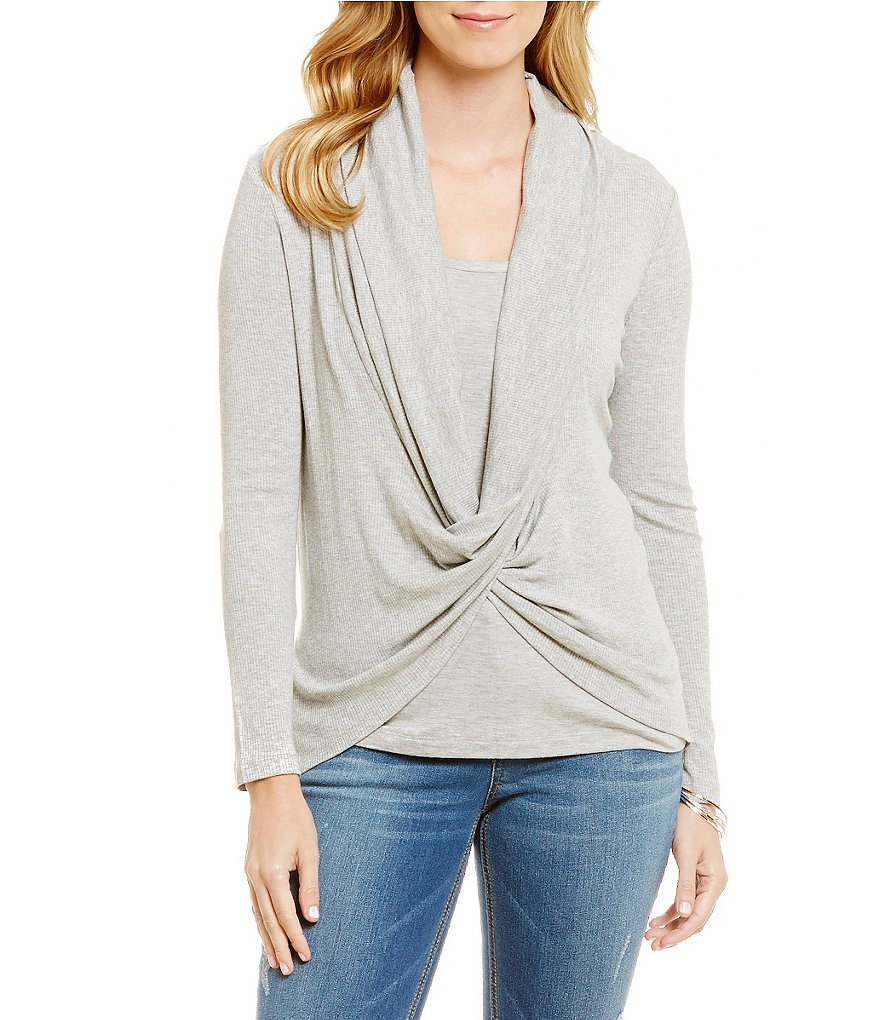Democracy Criss-Cross Drape-Neck Long Sleeve Solid Knit Top