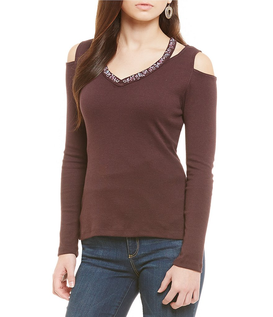 Democracy Embellished V-Neck Cold-Shoulder Knit Top