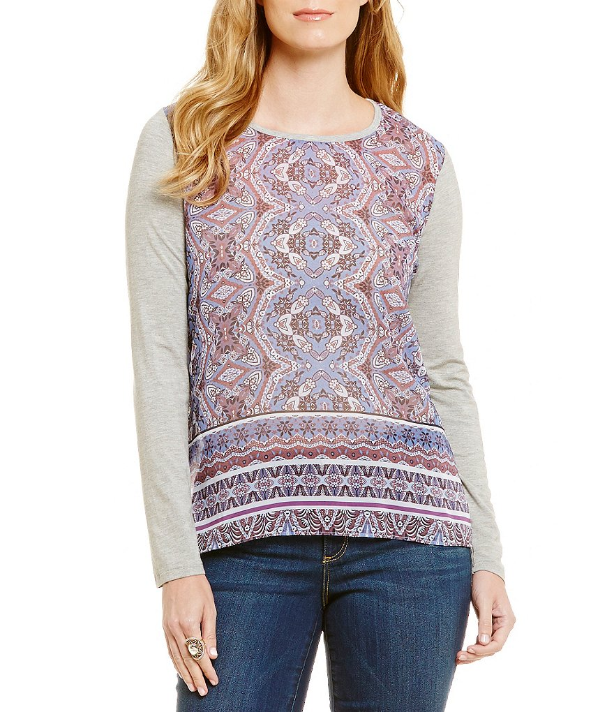 Democracy Long Sleeve Crew-Neck Printed Knit Front Top