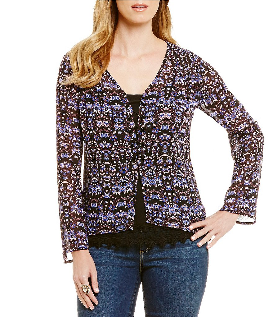 Democracy Printed Long Sleeve Button Front 2-Piece Woven Top