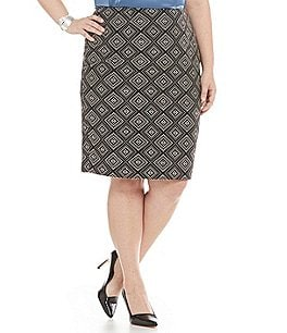 Kasper Plus Geometric Jacquard Straight Skirt Image