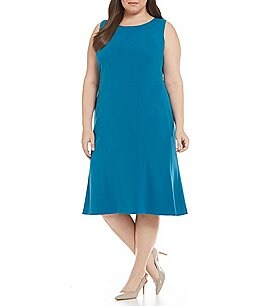 Kasper Plus Solid Stretch Crepe Fit-and-Flare Dress Image