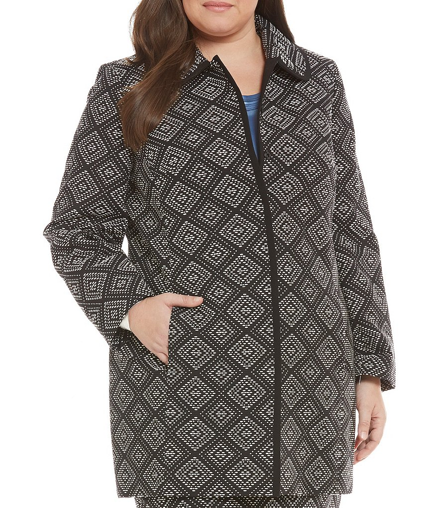 Kasper Plus Geometric Jacquard Topper Jacket