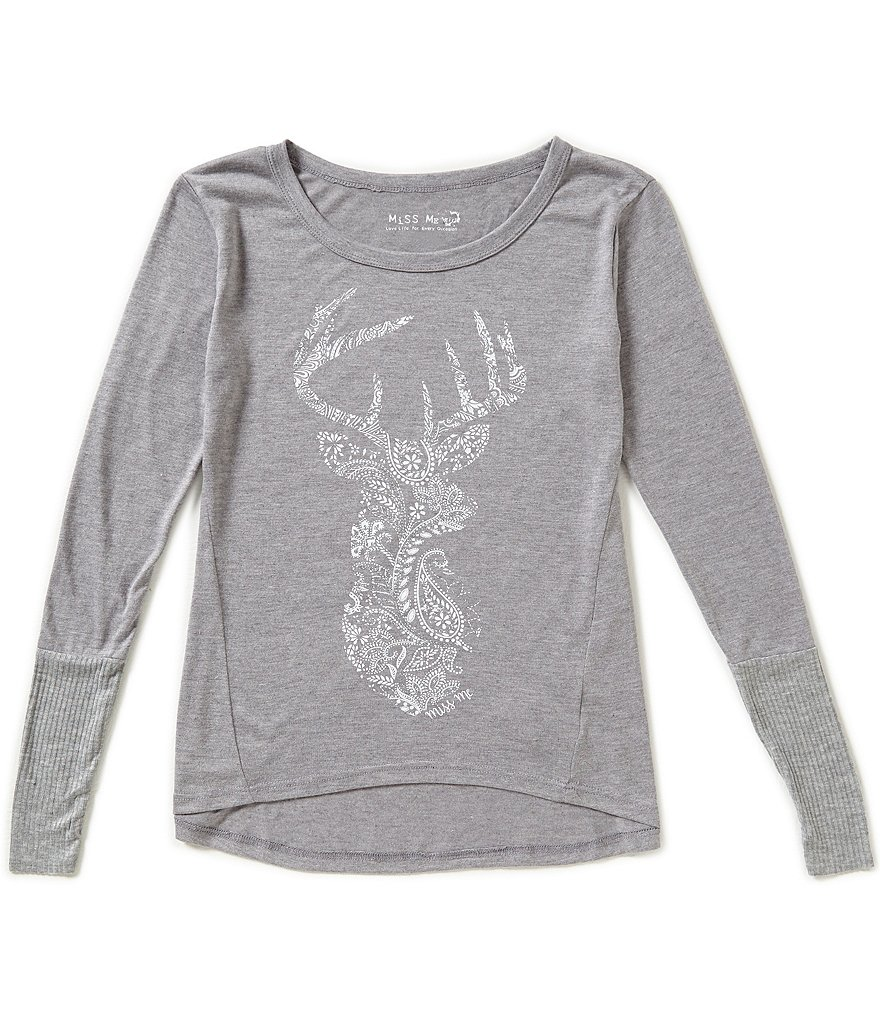 Miss Me Girls Big Girls 7-16 Deer Graphic High-Low Top