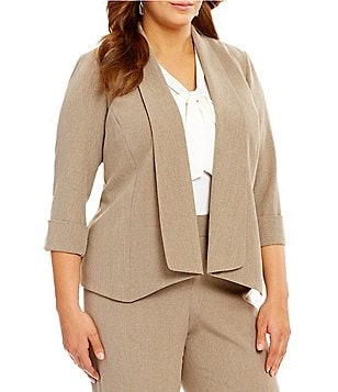 Kasper Plus Crepe Open-Front Jacket