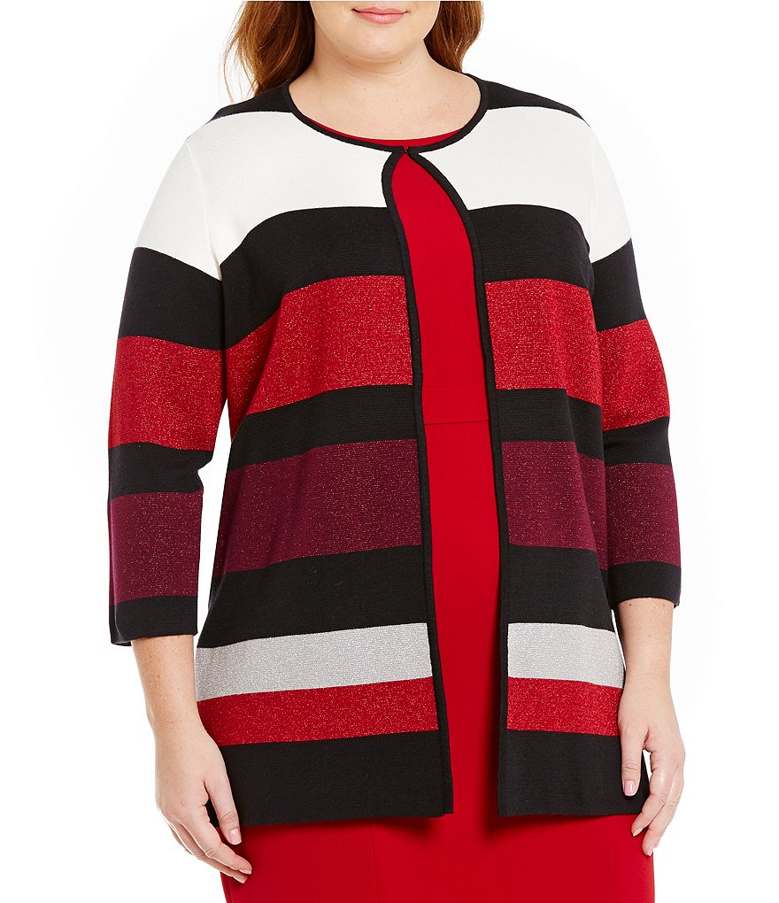 Kasper Plus Striped Collarless Topper