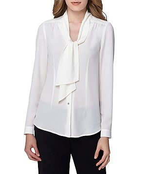 Tahari ASL Tie-Neck Georgette Shirttail Hem Blouse