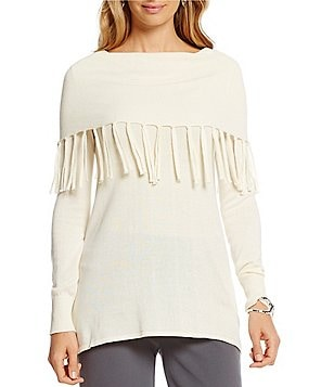 Multiples Long Sleeve Fringe Cowl Collar Swing Sweater