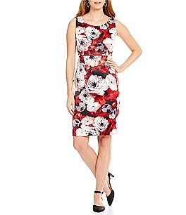 Kasper Rose-Print Sleeveless Twill Sheath Dress Image