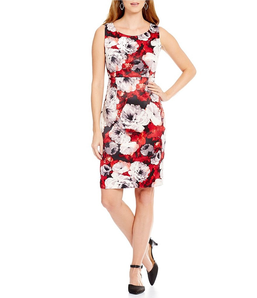 Kasper Rose-Print Sleeveless Twill Sheath Dress