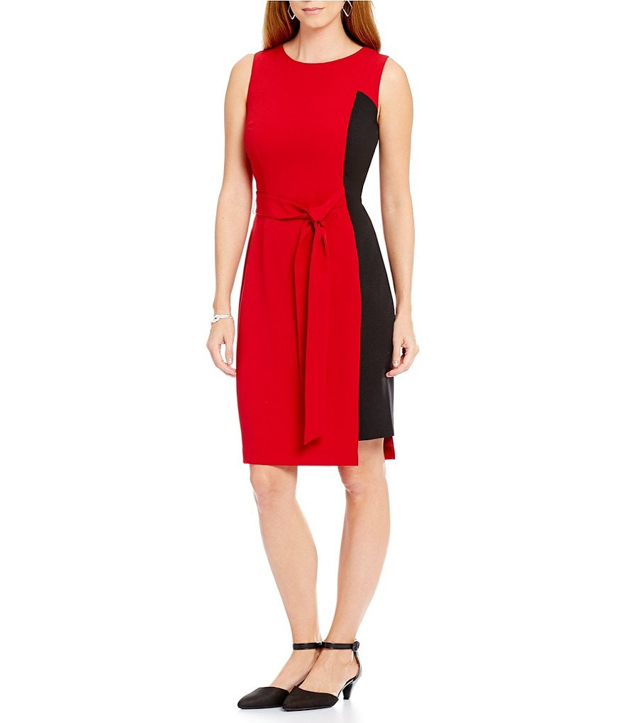 Kasper Stretch Crepe Colorblock Tie-Waist Sheath Dress