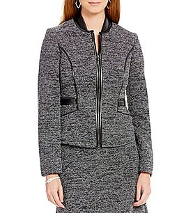 Kasper Round Neck Zip-Front Tweed Jacket Image